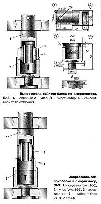 Чертежи оправок для замены сайлент-блока переднего амортизатора ВАЗ-2101 - ВАЗ-2107 с помощью пресса