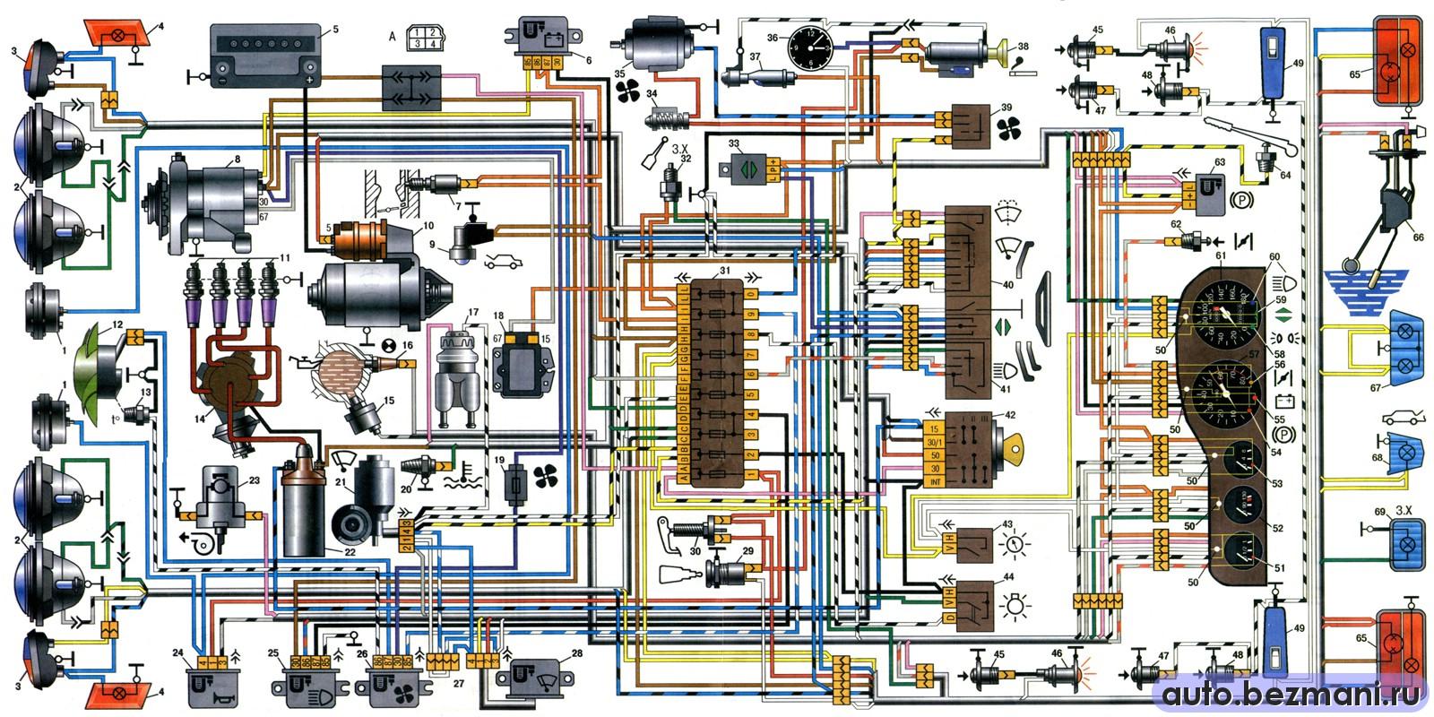 Cхема электооборудования ВАЗ 2103.