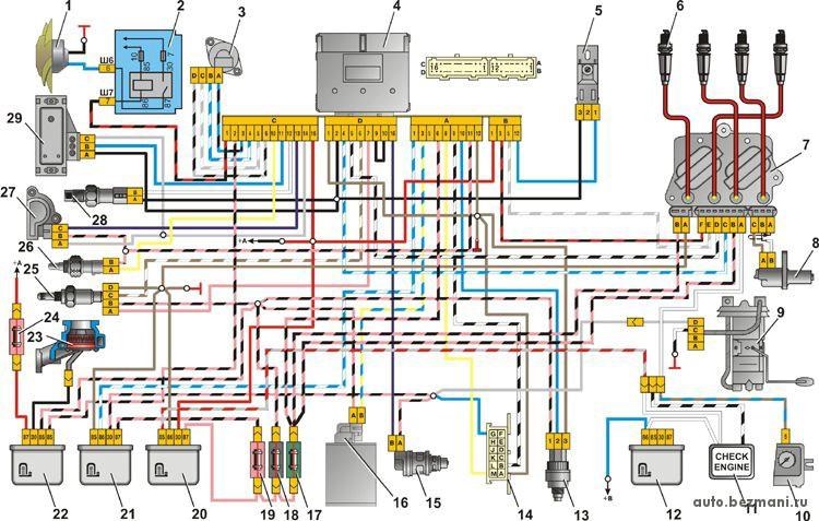 Электрическая схема системы управления двигателя с контроллером GM с центральным впрыском топлива, использующаяся на автомобилях ВАЗ-2105, ВАЗ-2107.