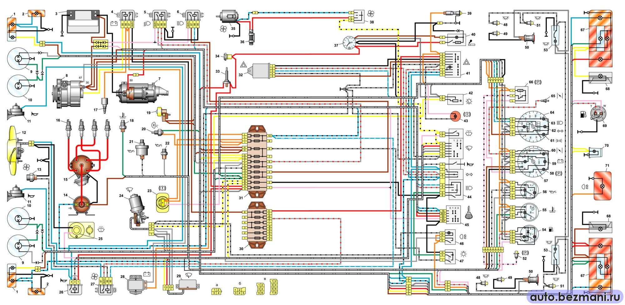 электрическая схема автомобилей ВАЗ-2106, ВАЗ-21061, ВАЗ-21063 выпуска 1976-1987 гг