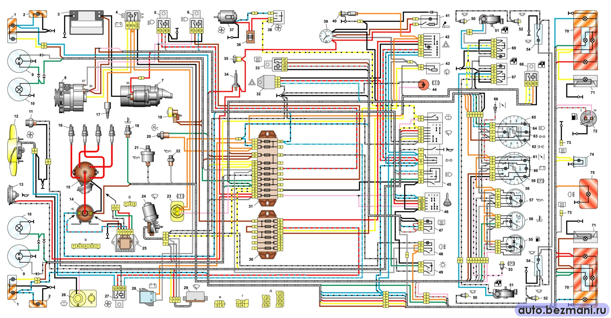 электрическая схема автомобилей ВАЗ-2106, ВАЗ-21061, ВАЗ-21063 выпуска 1988-2001 гг