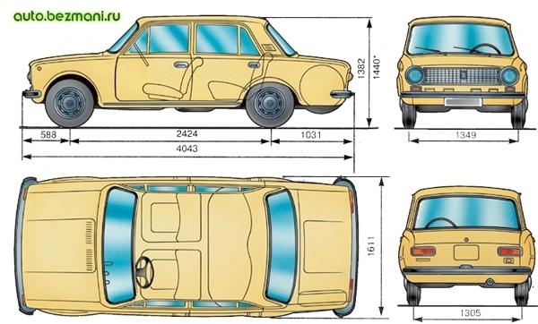 основные габаритные размеры автомобиля ваз-21011