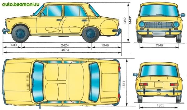 основные габаритные размеры автомобиля ваз-2101