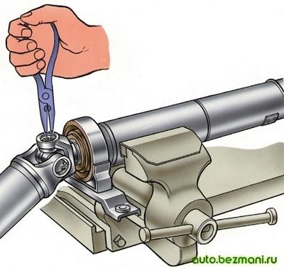 Снятие стопорных колец с карданной передачи ВАЗ-2101