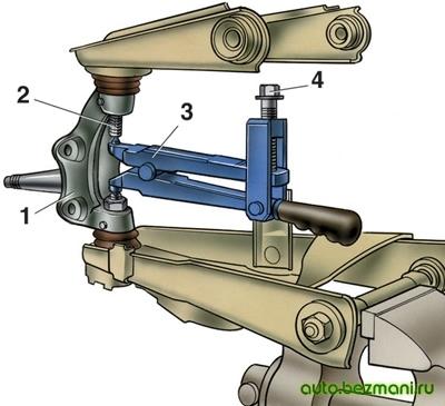 Выпрессовка пальца верхнего шарнира из поворотного кулака ВАЗ-2101