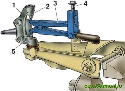 Снятие нижнего рычага с кулака ВАЗ-2101