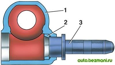 Выпрессовка наружного кольца верхнего подшипника