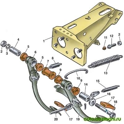 Детали кронштейна педалей сцепления и тормоза ВАЗ-2101