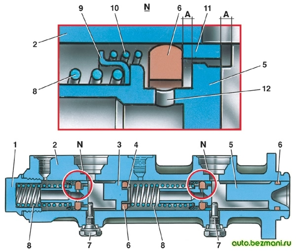 Главный цилиндр гидравлического привода тормозов