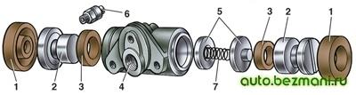 Детали колесного цилиндра ВАЗ-2101