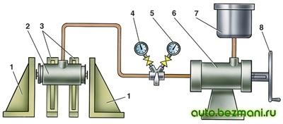 Схема проверки колесных цилиндров задних тормозов