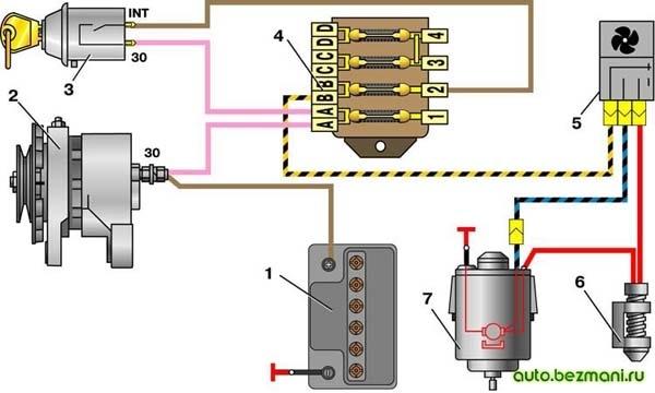 Схема включения электродвигателя вентилятора отопителя