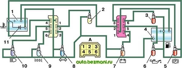 Электрическая схема соединений комбинации приборов (вид сзади)