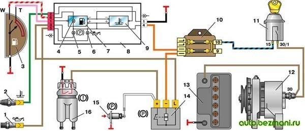 Схема включения контрольных приборов