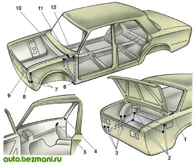 Места нанесения невысыхающей уплотнительной мастики на кузов ВАЗ-2101