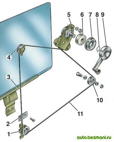 Привод механизма стеклоподъемника ВАЗ-2101