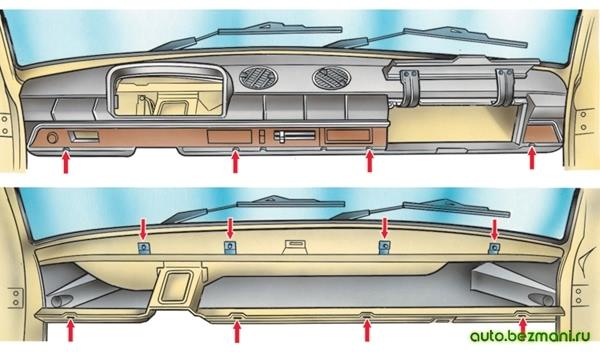 Снятие панели приборов ВАЗ-2101