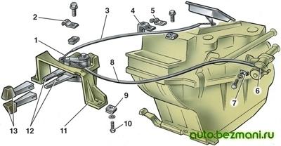 Привод управления отопителем ВАЗ-2101