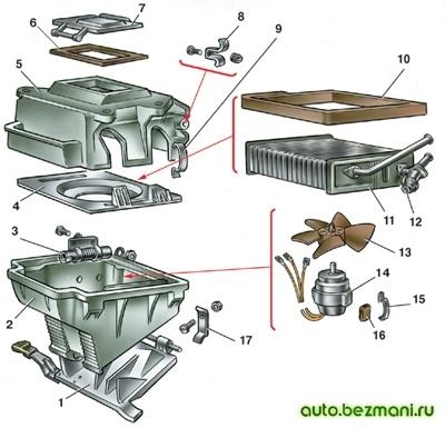 Детали отопителя ВАЗ-2101