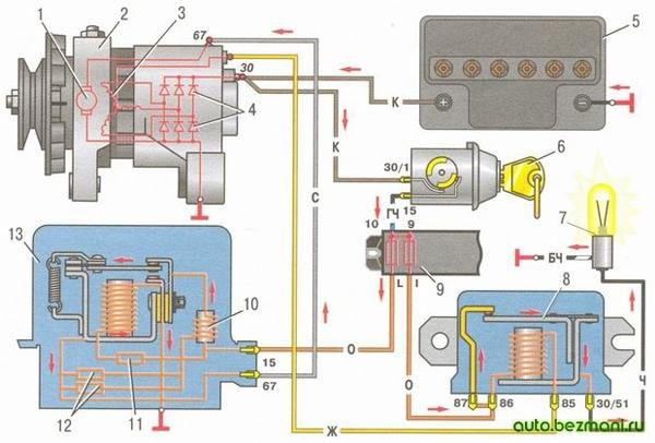 Схема соединений системы генератора Г-221