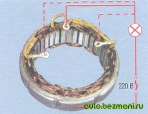 Проверка замыкания обмоток статора на корпус генератора ВАЗ