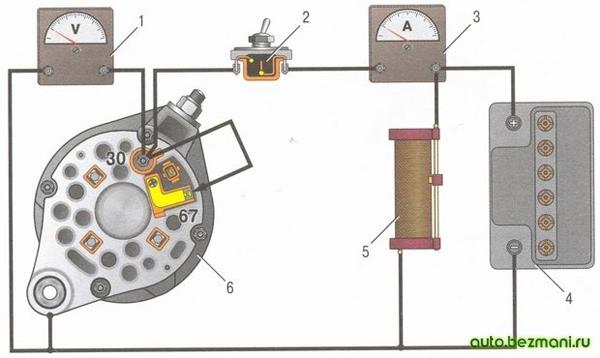 Схема соединений генератора ВАЗ для проверки на стенде