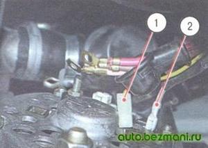 Снятие проводов с выводов генератора