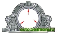 выступы для центрирования держателя относительно фланца коленчатого вала