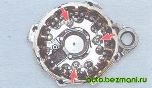 Отворачивание гаек крепления выводов обмоток статора генератора