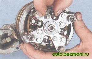 Снятие стопорного кольца вала ротора