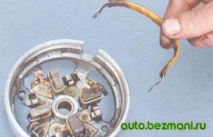 Снятие перемычек обмоток статора стартера