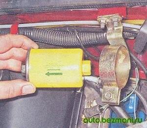 Направление стрелки на топливном фильтре