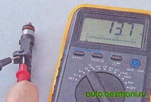 Измерение сопротивления обмотки форсунки ВАЗ-2104, ВАЗ 2105, ВАЗ 2107