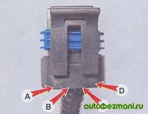 Маркировка выводов колодки регулятора холостого хода ВАЗ-2104, ВАЗ 2105, ВАЗ 2107