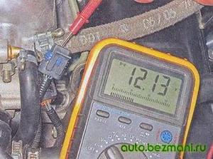 Измерение напряжения на выводах колодки РХХ