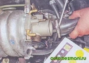 Снятие патрубка подвода воздуха