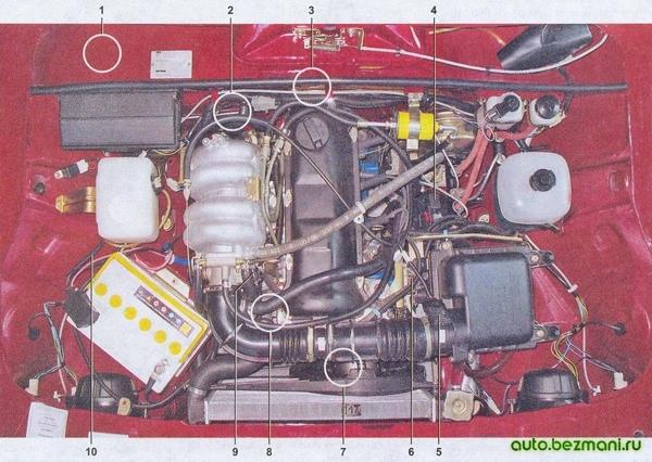 Расположение элементов системы управления двигателем ВАЗ-2104, ВАЗ 2105, ВАЗ 2107