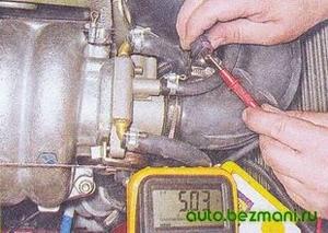 Проверка цепи датчика положения дроссельной заслонки ВАЗ-2104, ВАЗ-2105, ВАЗ-2107