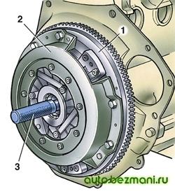 Центрирование ведомого диска сцепления с помощью оправки А.70081
