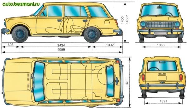 основные габаритные размеры автомобиля ваз-2102