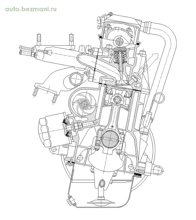 чертёж двигателя ВАЗ 2108 поперечный разрез