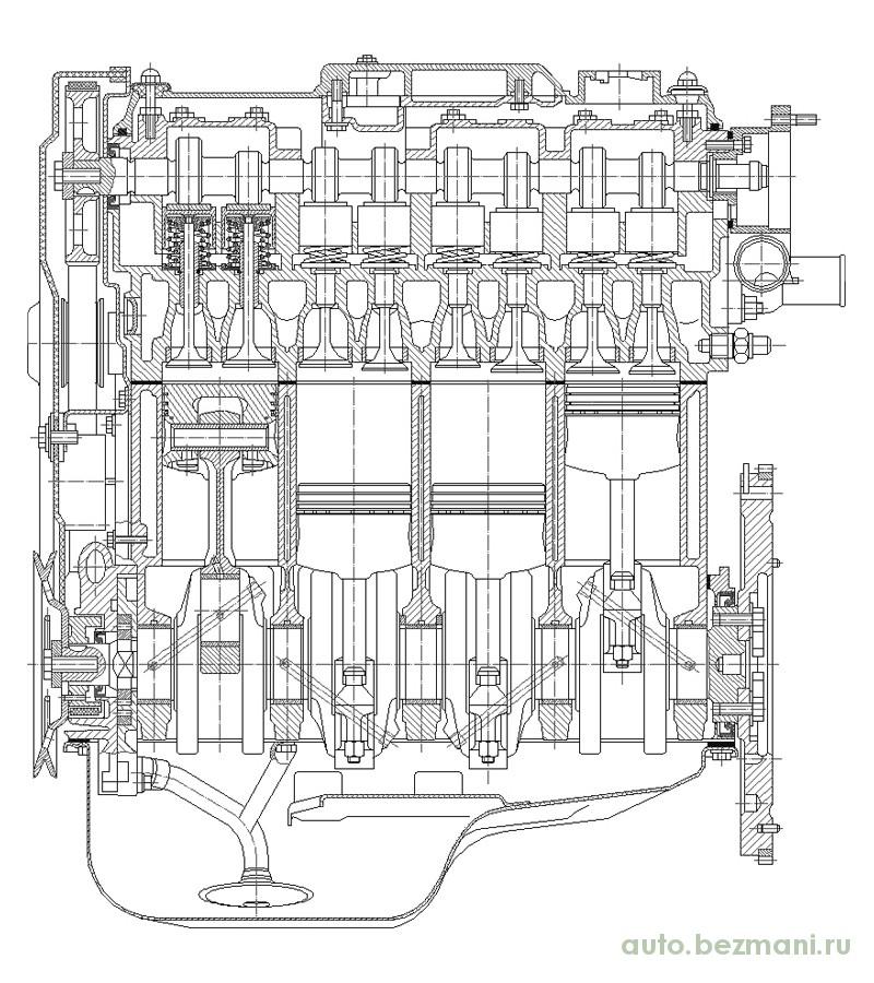 чертёж двигателя ВАЗ 2108 продольный разрез