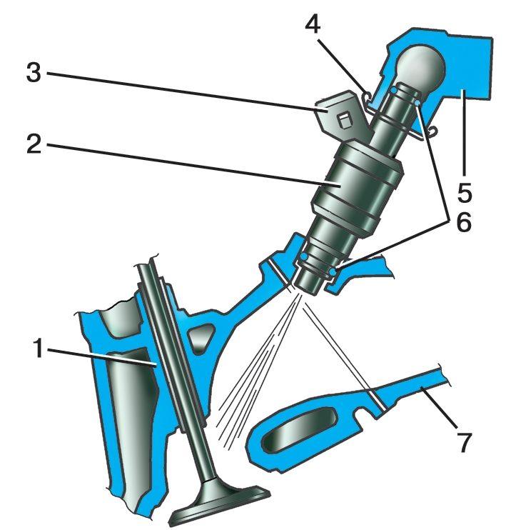 Расположение клапана и форсунки в разрезе