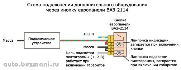 Схема подключения дополнительного оборудования при помощи кнопки от ВАЗ-2114, ВАЗ-2115