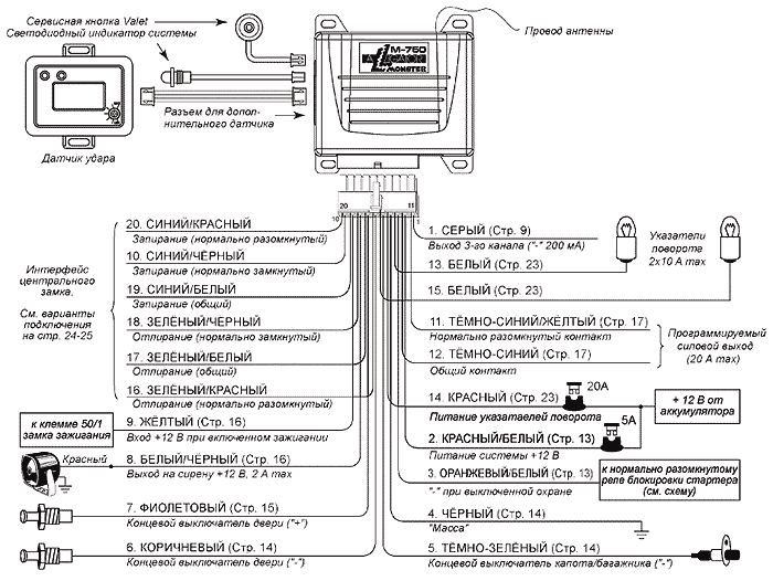 Схема подключений основного блока автомобильной сигнализации Alligator M-750