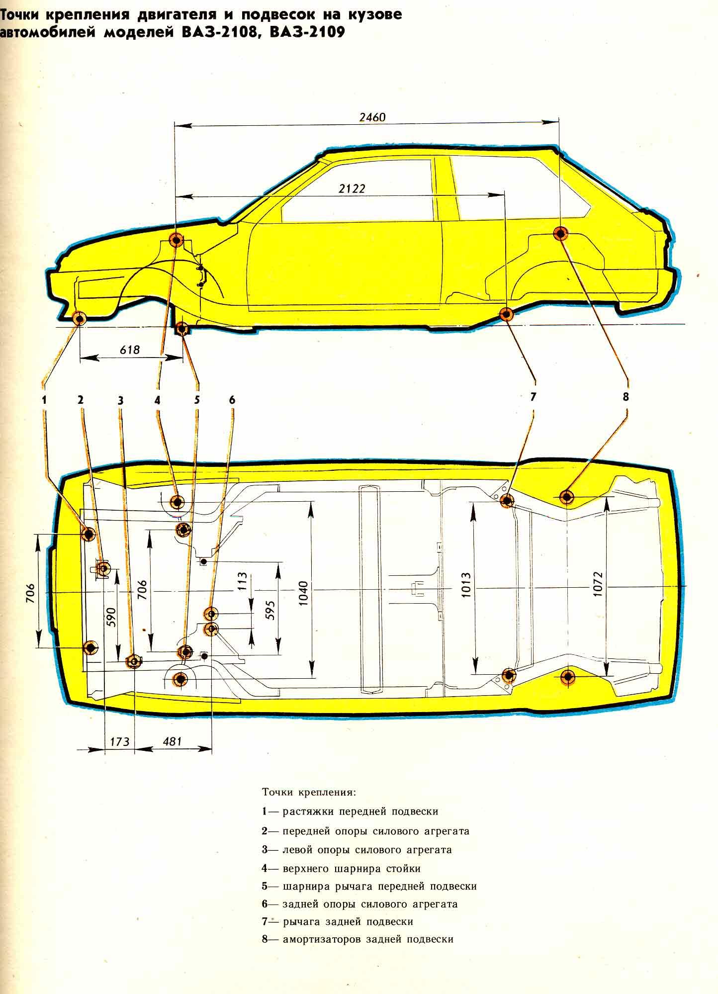 Точки крепления двигателя и передней и задней подвесок автомобилей ВАЗ-2108, ВАЗ-2109