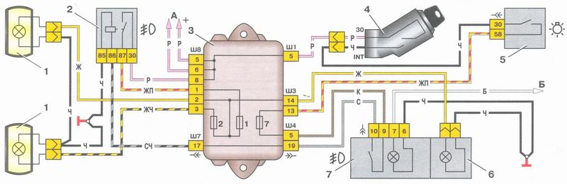 Схема подключения противотуманных фар на ВАЗ-2109