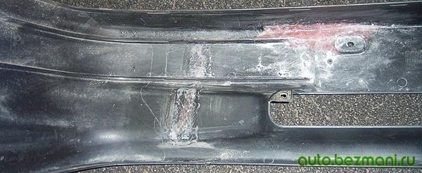 Усиление швов на бампере с помощью стекловолокна