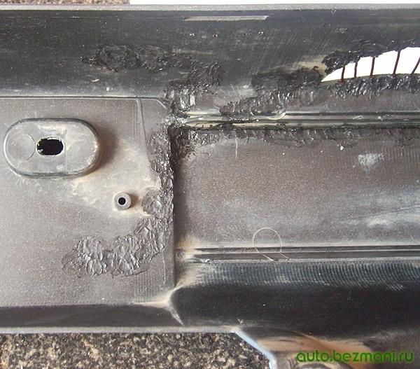 Запаивание трещин в бампере после удара