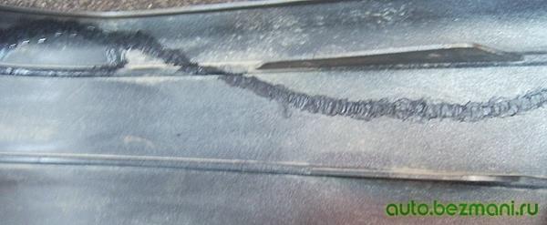 Запаивание трещины в бампере ВАЗ-2114